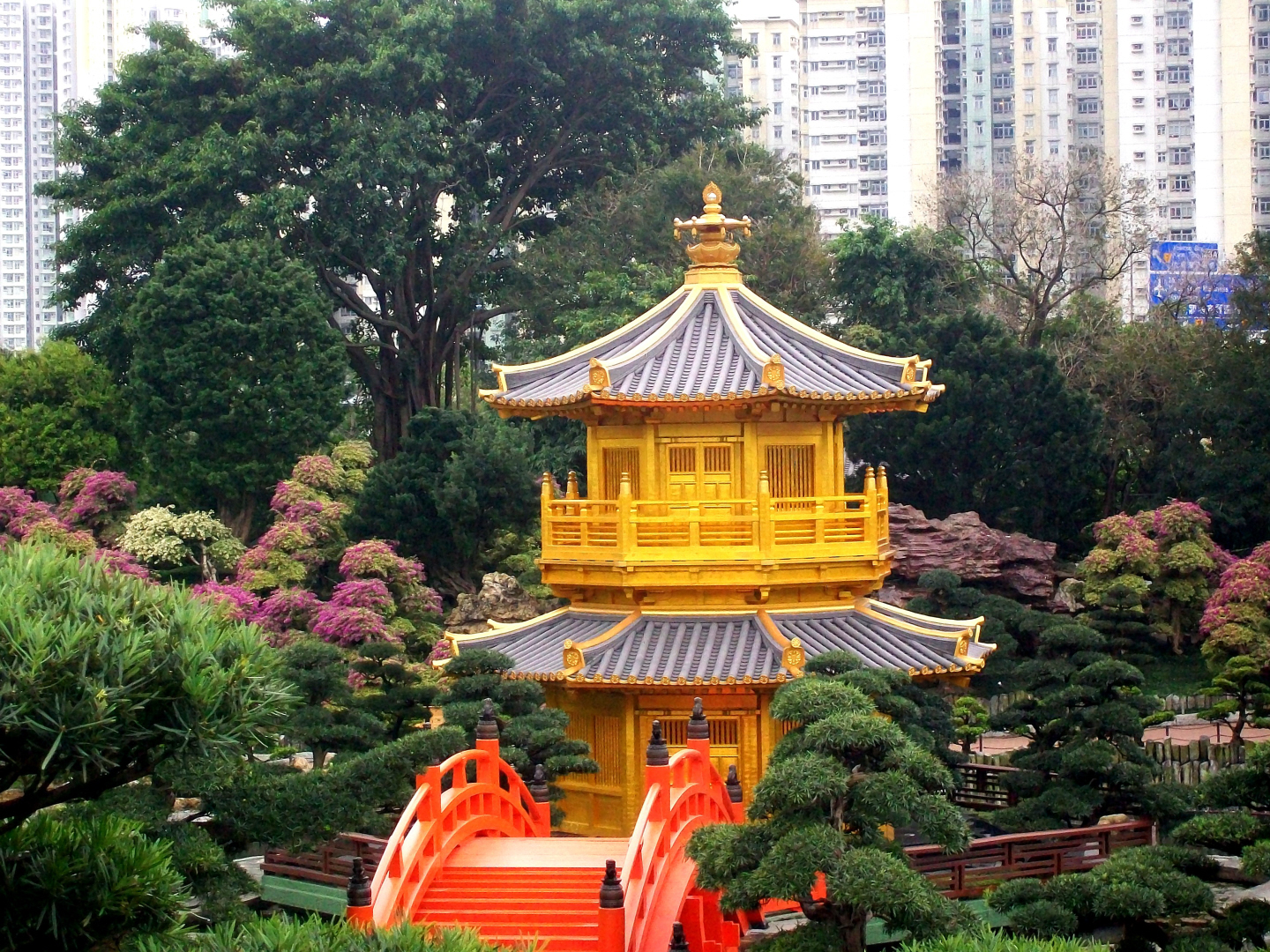 garden Pagoda in the Chi Lin Buddhist Nunnery - Kowloon Island off of Hong Kong